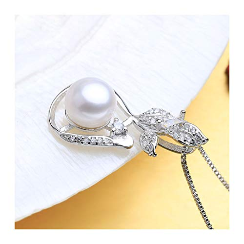 925 Sterling Silver Bohemian Pendant with Pearl Jewelry Fashion Natural Freshwater Pearl Necklace for Women,Black