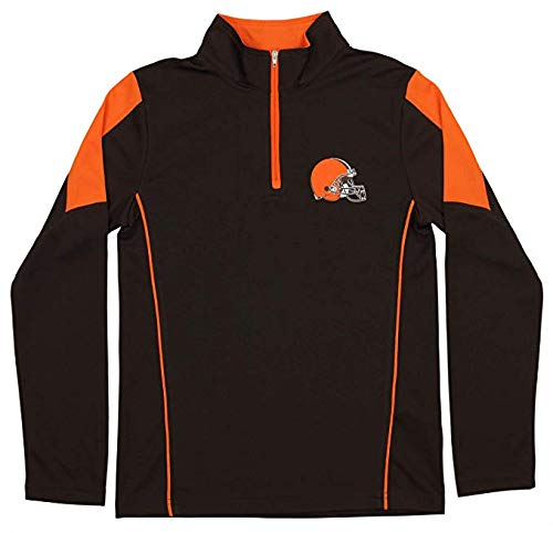 Outerstuff NFL Youth Boys Cleveland Browns Mock 1/4 Zip Sweater, Medium