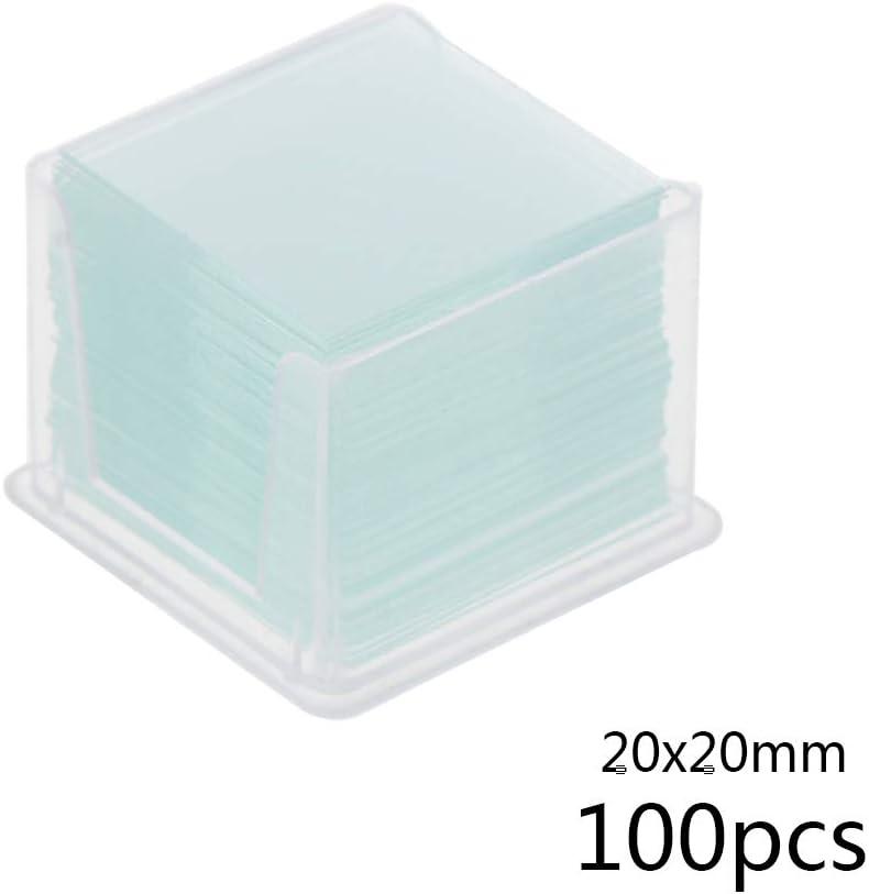 BIlinli 100 Pezzi vetrini Trasparenti Quadrati vetrini per vetrini per Strumenti ottici per microscopi