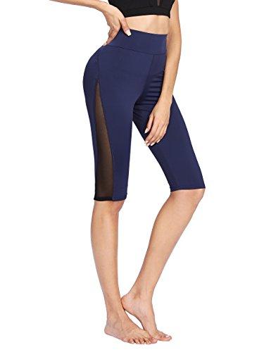 Yoga Crop Legging - SweatyRocks Women's Mesh Panel Capri Leggings Workout Yoga Running Crop Pants (Large, Blue)