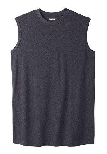 KingSize Men's Big & Tall Lightweight Cotton Muscle Shirt, Heather Charcoal by KingSize