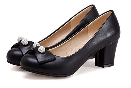 Aisun Womens Élégant Perlé Habillé Bout Rond Chunky Talons Mi-bas Slip Bas Sur Les Pompes Chaussures Avec Des Arcs Noirs