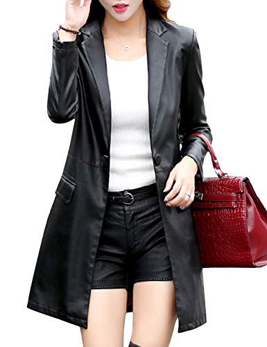 Tanming Womens Casual Lapel Long Leather Jacket Suit Coat Windbreaker Trench Coat (Black, -
