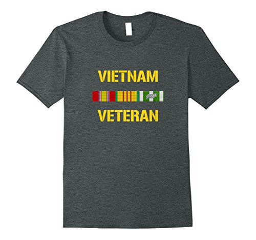 Men's Vietnam Veteran Ribbon Bar T-Shirt XL Dark Heather