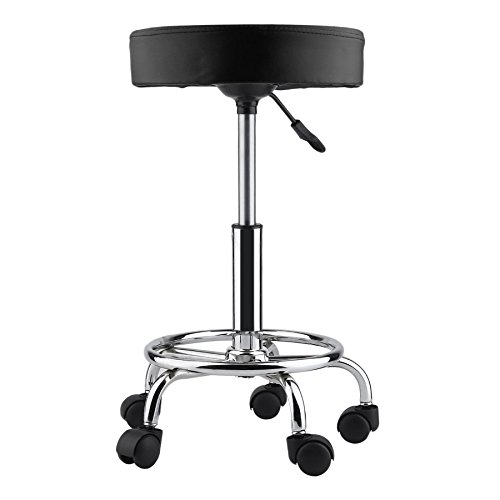 Comfortable Adjustable Hydraulic Rolling Swivel Salon Stool Chair with PU Leather Cushion – Black