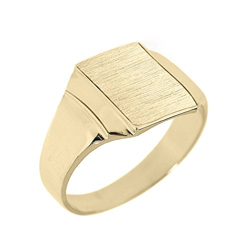 Solid 14k Yellow Gold Engravable Rectangular Frame Face Signet Ring for Men (Size 11.5)