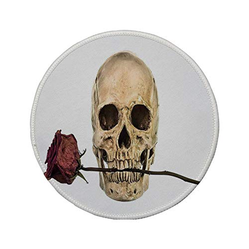 (Non-Slip Rubber Round Mouse Pad,Gothic Decor,Skull with Dry Red Rose in Teeth Anatomy Death Eye Socket Jawbone Halloween Art)