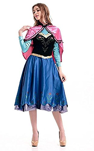 Peachi Adult Woman Costume Anna Princess Dress with Cape for Halloween Cosplay Party S-XL (XL)