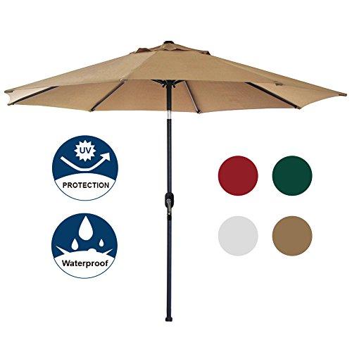Blissun 9' Patio Umbrella Aluminum Manual Push Button Tilt and Crank Garden Parasol (Tan)