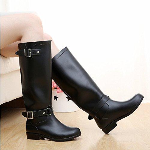 Minetom Mujer Moda Impermeable Botas De Moto Hasta La Rodilla Zapatos Cargadores De Martin Cremallera Cerrada Botines De Lluvia Negro