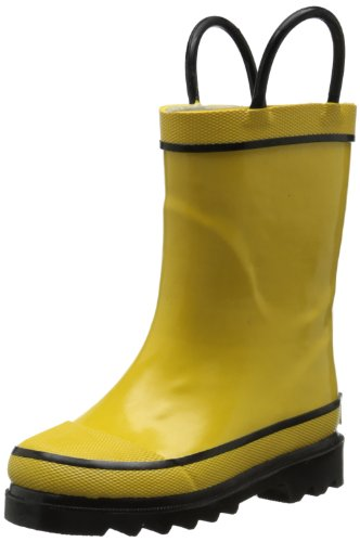 aterproof Rubber Classic Rain Boot with Pull Handles, Yellow, 9 M US Toddler ()