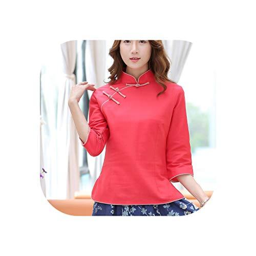 Women Stand Collar Plate Buttons Fashion Vintage Summer Tea Improved Cotton Slim Wind Jacket Costume Cheongsam,Red,XXL]()