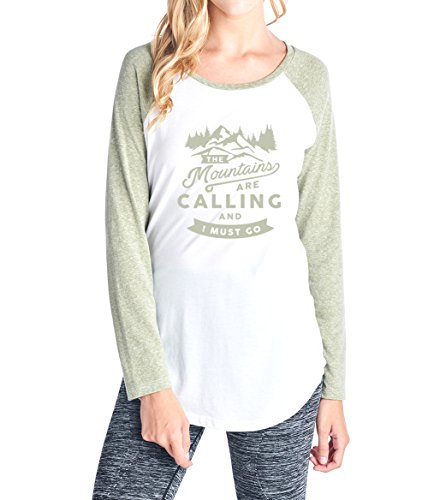 Tough Cookie's Women's The Mountains are Calling Triblend Raglan Long Sleeve Top (Made in USA) (Medium, White/Olive)