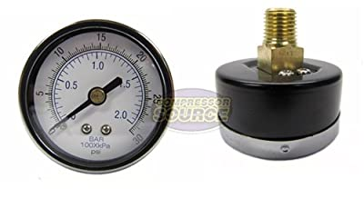 "1/4"" Male 0-30 PSI Back Mount Air Compressor Air Pressure Gauge"