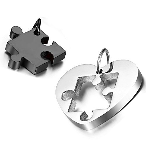 Cupimatch 2PCS Couple Necklace Stainless Steel Love Heart Puzzle Matching Pendant, 54cm 45cm Chain Included