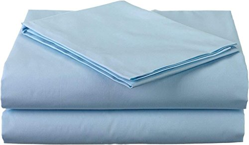 Premium 100% Cotton Bed Sheets - 800 Thread Count 4-Piece Sheet Set - Ultra Soft & Smooth Hotel Luxury 4pc Bedding Set Solid 15 inches Deep Pocket (Full, Sky Blue)
