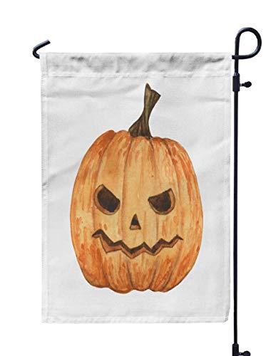 HerysTa Spring Garden Flag, Decorative Yard Farmhouse Holiday Banner 12 x 18 inches Carved Pumpkin Decoration Halloween Cartoon Style Horror Watercolor Isolated Double-Sided Seasonal Garden Flags]()