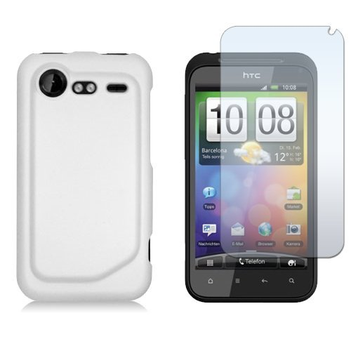 meet c68ab 50eb5 HTC DROID INCREDIBLE 2 / INCREDIBLE S - WHITE RUBBERIZED SNAP-ON HARD SKIN  CASE COVER + CLEAR SCREEN PROTECTOR