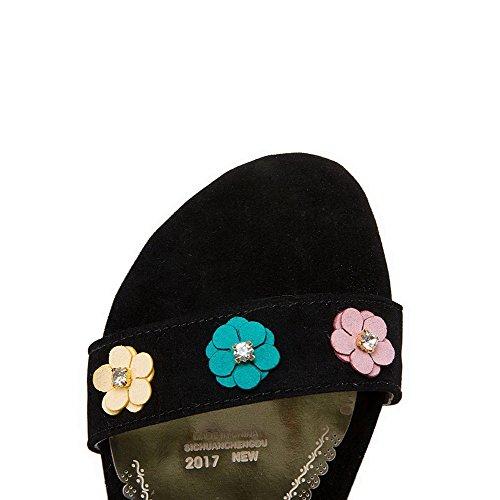 AalarDom Mujer Puntera Abierta Mini Tacón Sólido Sandalias de vestir Negro(hua)
