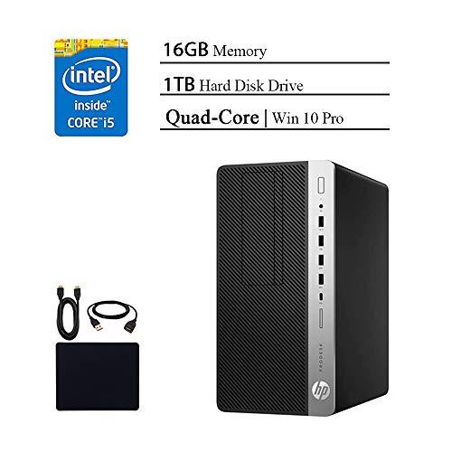 HP ProDesk 600 G3 Premium Micro Desktop Business Tower PC 2019 Flagship, Intel Core i5-7500 Quad-Core, 16GB RAM, 1TB HDD, DVDRW, USB-C, Display Port, Win 10 Pro W/Masdrow 29.99 Value Accessories