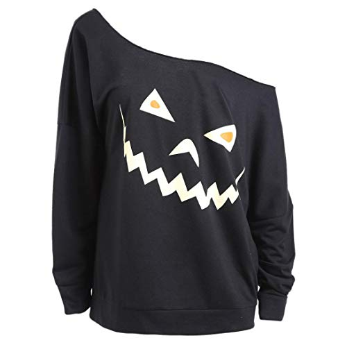 UONQD Women Sweater Halloween Ghost Print Sweatshirt Pullover
