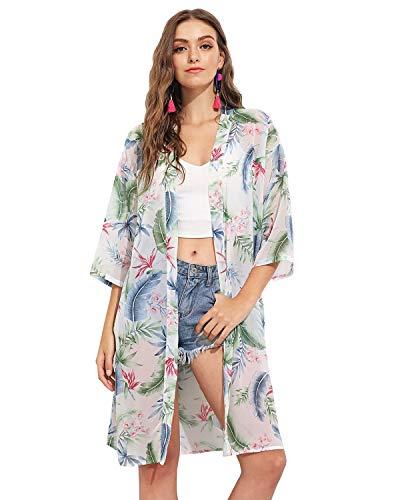 GERINLY Kimonos Cardigan for Women Tropical Hawaiian Beach Sundress Shawl Lightweight Blouse -