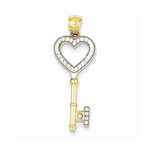 14k Yellow Gold & Rhodium Heart Key Pendant ()