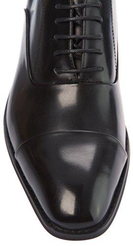 Parrazo Mens Oxfords-scarpe Stringate Derby Captoe Scarpe In Pelle Pu Nero