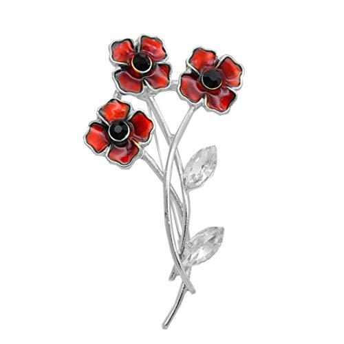 UINKE Charm Poppy Brooches Red Flower Leaf Enamel Brooch Badges Banquet Poppy Lapel Pin Remembrance Day Gift,Silver -