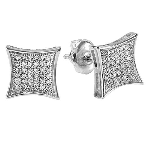 Dazzlingrock Collection 0.15 Carat (ctw) 10K White Real Diamond Kite Shape Men's Hip Hop Iced Stud Earrings, White Gold ()