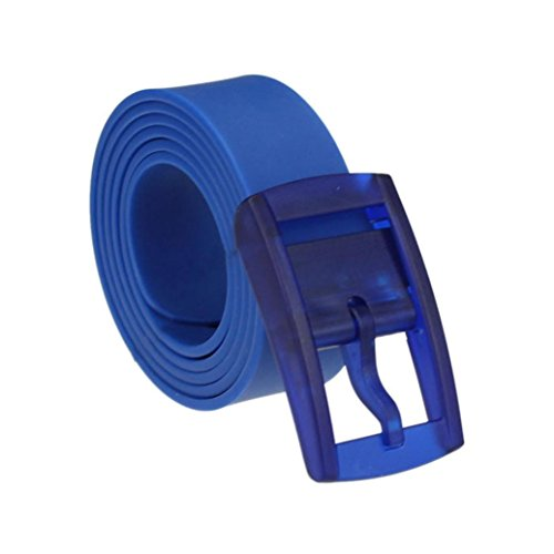 Price comparison product image Mchoice Men Womens Unisex Smooth Silicone Rubber Leather Belt Plastic Buckle New (Blue)