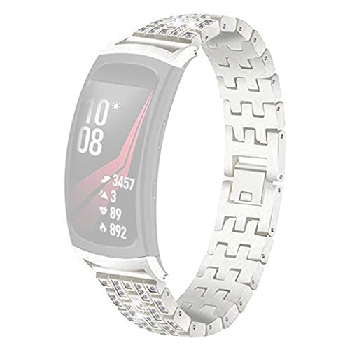 NOGOQU For Samsung Gear Fit 2/ Fit 2Pro Cross drill Bracelet Smart Watch Band Strap/Band width:22mm (Silver)