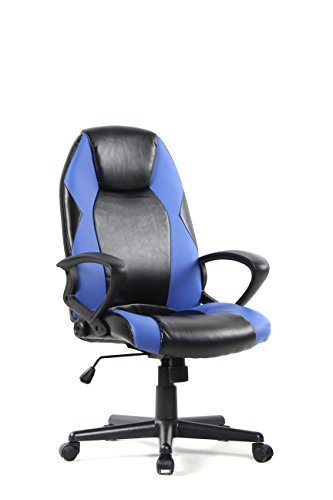 BONUM Adjustable Computer Gaming Chair Swivel Ergonomic Design Executive Office Racing Chair,High-back Leather Home Desk Pc Chair Including Headrest and Lumbar Support Black and Red