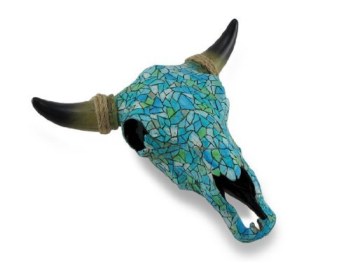 Mosaic Turquoise Steer Skull Wall - Mosaic Decor Art Wall Tile