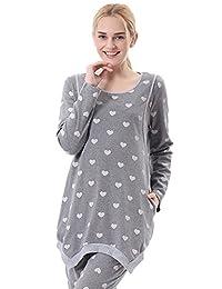 Chickle Women's Cotton Crew Neck Nursing Maternity Pajamas Set