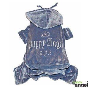 ' Luxury Velvet Pet Umpsuit (Light bluee) – Size M (Back Length 27 cm)