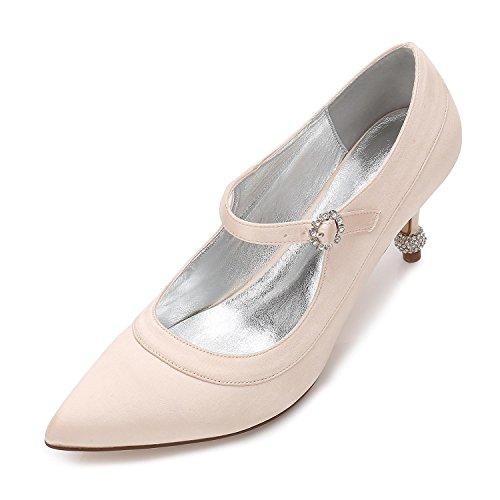 Satin Travail Prom Wedges Partie Soirée Chaton L De Champagne Chaussures yc Femmes Court Mariage Talon Occasionnel qC1Ffw
