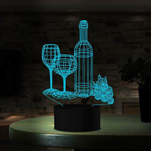 Wine Cup Bottle 3D Night Light Touch Switch Table Desk Optic