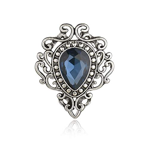 er Color Men's Brooches for Women Lovely Water Drop Badge Flame Crystal Brooch Lapel Pins Fashion Jewelry (Blue) ()