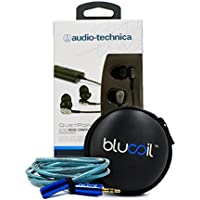 Audio-Technica ATH-ANC23 QuietPoint Active Noise-Cancelling In-Ear Headphones - INCLUDES - Blucoil 6 ft Extender PLUS Earbud Case - VALUE BUNDLE