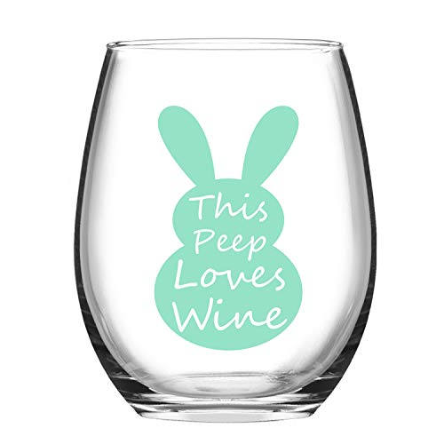 Easter wine Glasses - Funny Easter Gifts - This Peep Loves Wine - Happy Easter Wine Glass with Bunny - Easter Basket Ideas - Easter Gift for MIL Mom Grandma ()