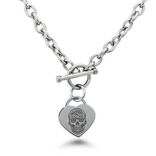 Tioneer Stainless Steel Day of The Dead Sugar Skull Symbols Heart Charm, Necklace Only