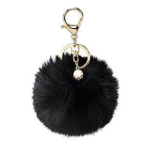 DZT1968 Solid Color Imitate Rabbit Fur Ball Keychain Handbag Key Ring Car Key (Black)