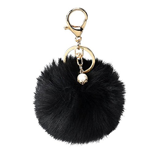 DZT1968® Solid Color Imitate Rabbit Fur Ball Keychain Handbag Key Ring Car Key (Black)