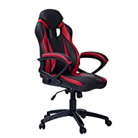 Merax Ergonomic Racing Style PU Leather Gaming Chair for Home and Office (Red)