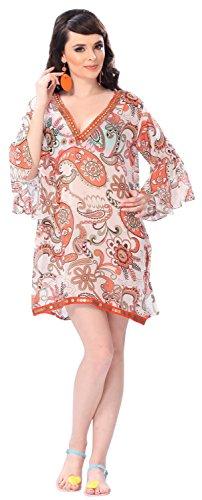 La Leela bestickt mit V-Ausschnitt Paisley Frauen schiere leichte Chiffon Badebekleidung 4 in 1 Strand Bikini tanzen verschleiern Tunika Lounge basic Kleid Orange