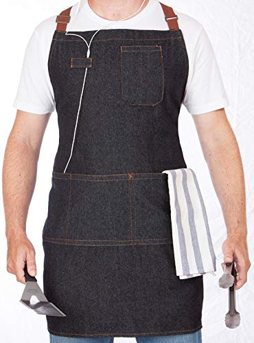 (Denim Apron With Pockets - Stay Organized When You're BBQ Grilling And Cooking - Stylish Cooking Aprons For Men - Make An Awesome Gift - Fully Adjustable, Contemporary Design - Machine washable)