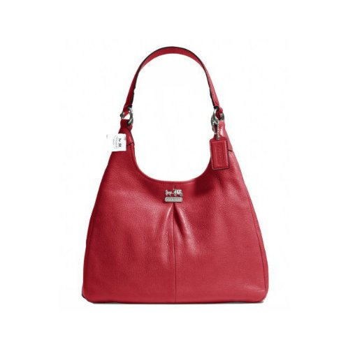 Scarlet Maggie Red Leather Coach Bag Hobo Shoulder Madison 21225M xnn07w8