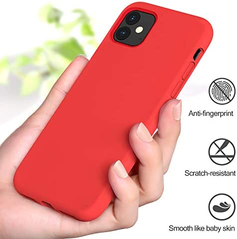 Miracase Liquid Silicone Case Compatible with iPhone 11 6.1 inch(2019), Gel Rubber Full Body Protection Shockproof Cover Case Drop Protection Case(Red)