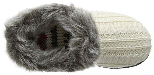 Dearfoams Damen Dearfoms Microsuede Clog With X-Stitch and Memory Foam Hausschuhe Off White (Muslin 00120)